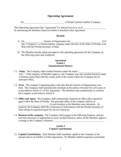 operating agreement of a limited liability company llc example1