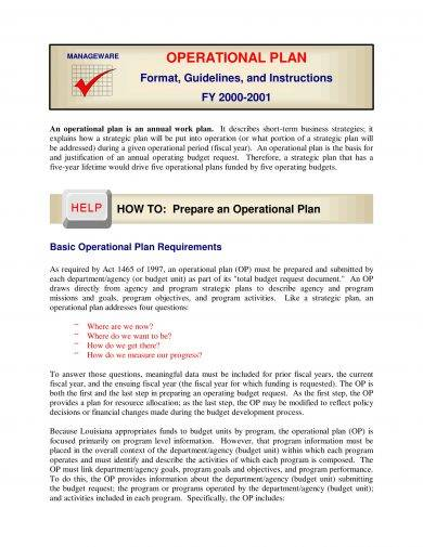 operational plan format guidelines and example