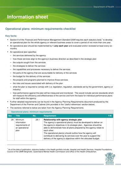 operational plan minimum requirement checklist and example
