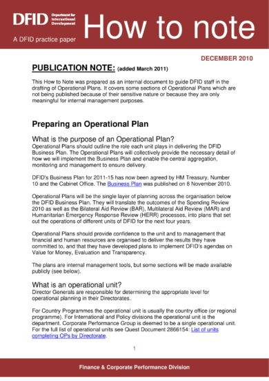 operational plan preparation example
