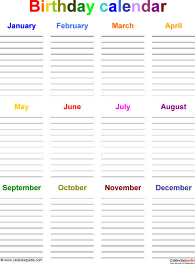 ordinary birthday calendar