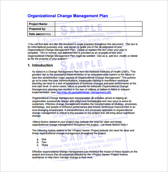 9  change management plan with examples