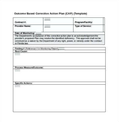 outcome based corrective action plan example1