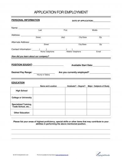 outlined application for employment example