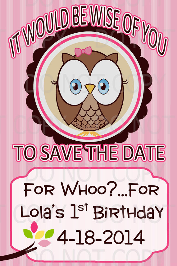 owl birthday save the date design example