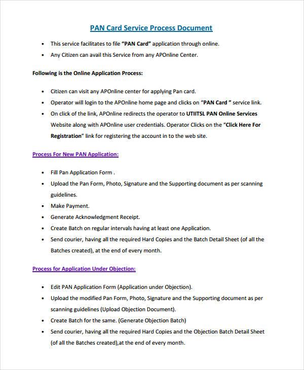 pan card service process document