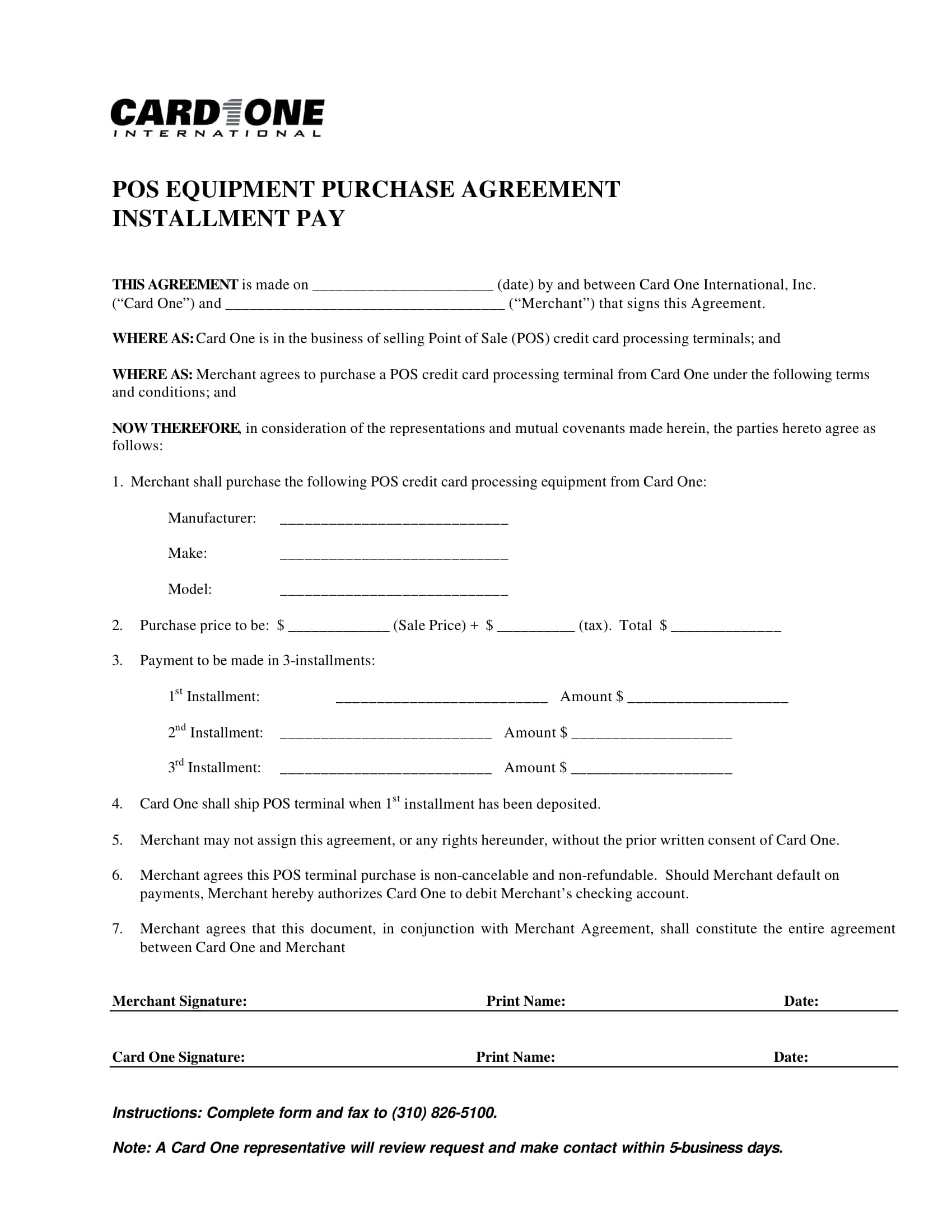 pos equipment purchase agreement example