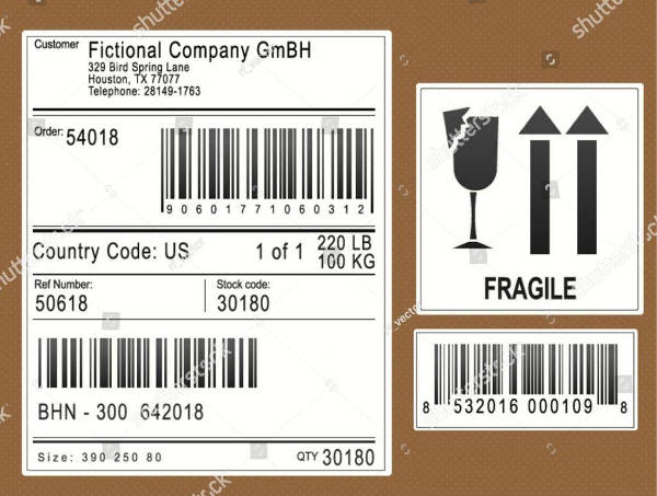 packaging or shipping labels or stickers example