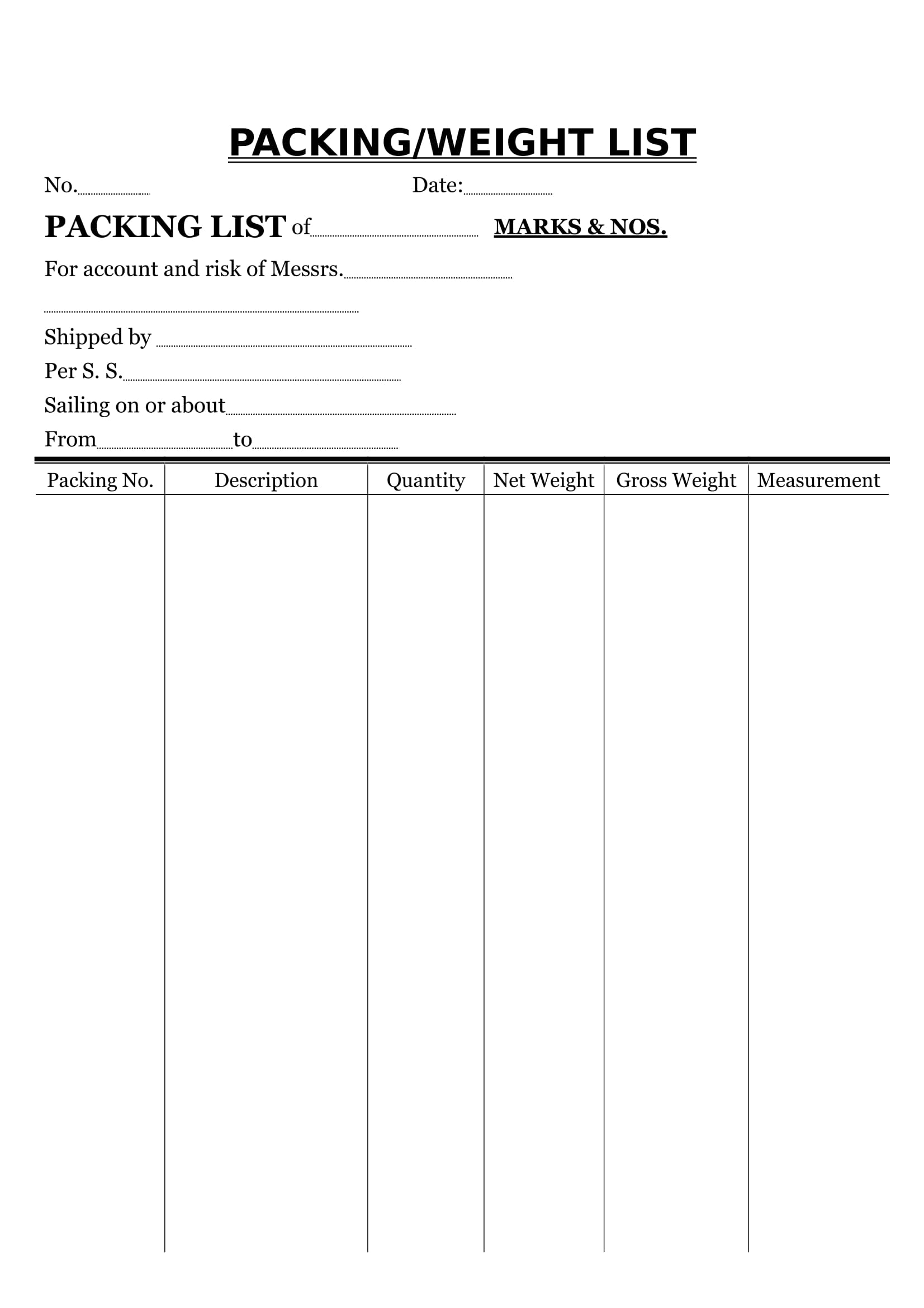 packing and or weight list example
