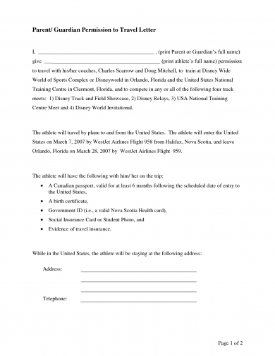 permission to travel letter for children 17 authorization letter for a child to travel examples 25302 | Parent or Guardian Permission to Travel Letter