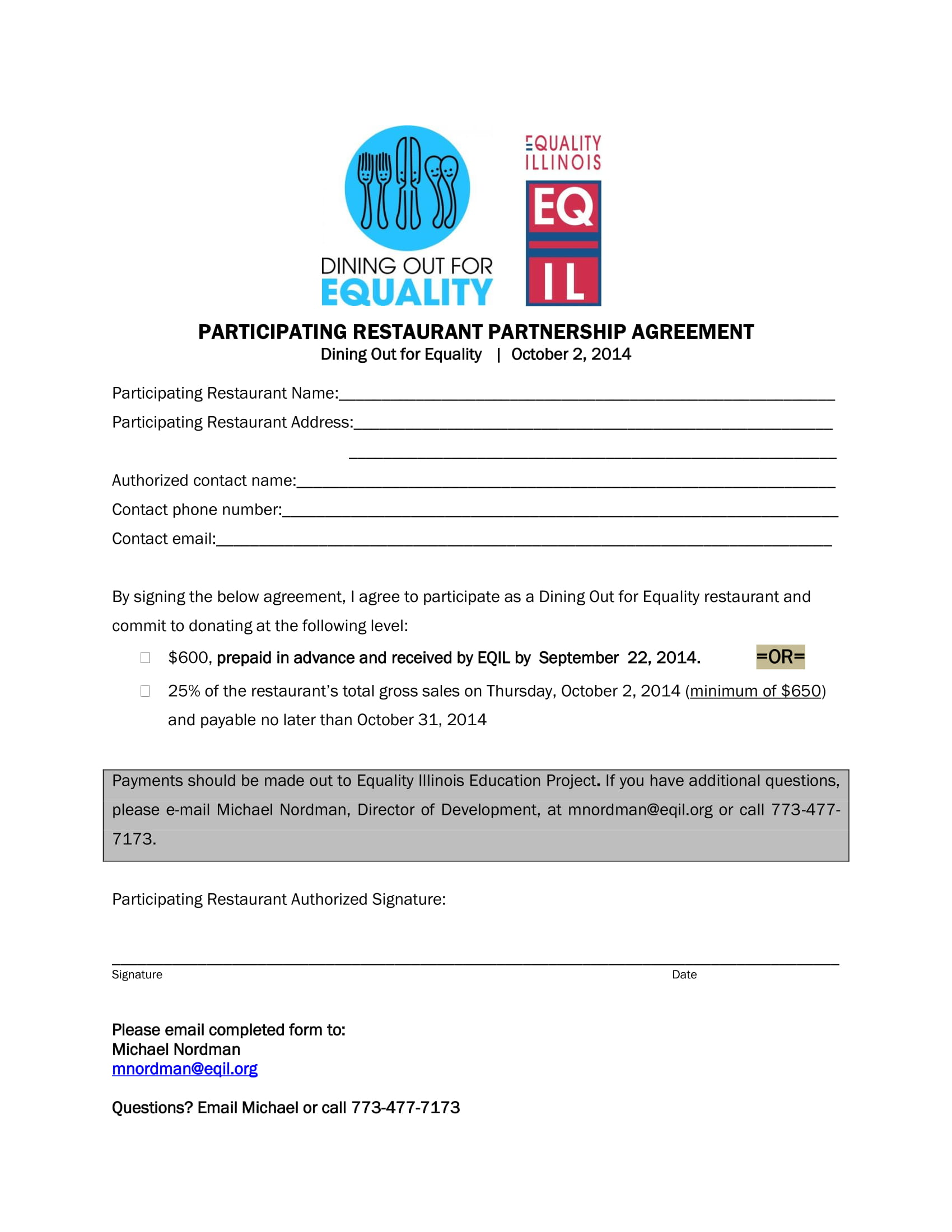 participating restaurant partnership agreement example1