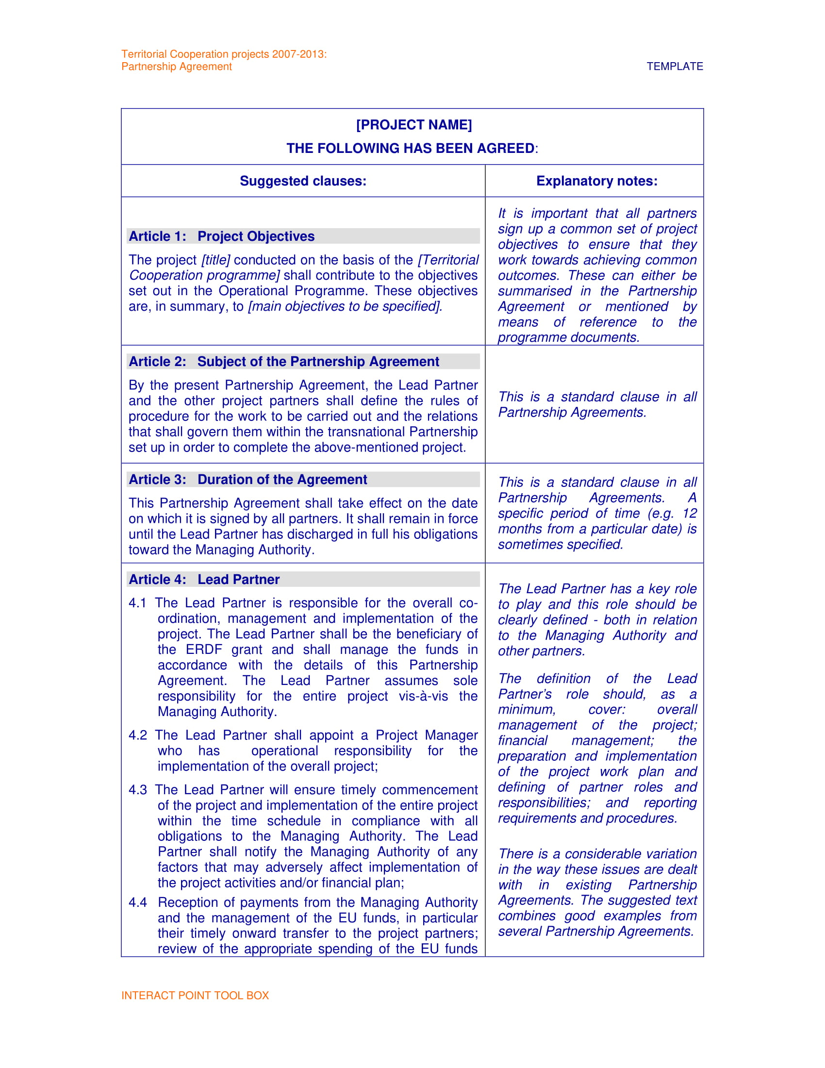 partnership agreement template example