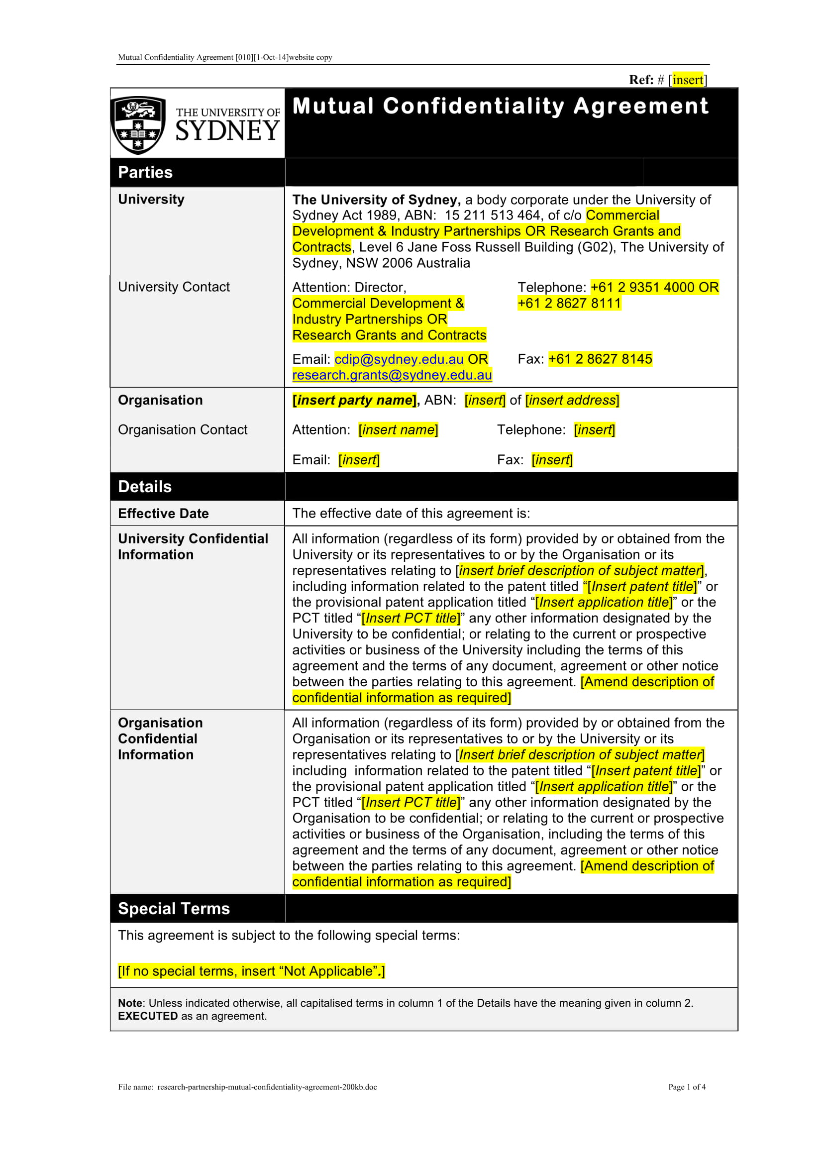 partnership mutual confidentiality agreement example