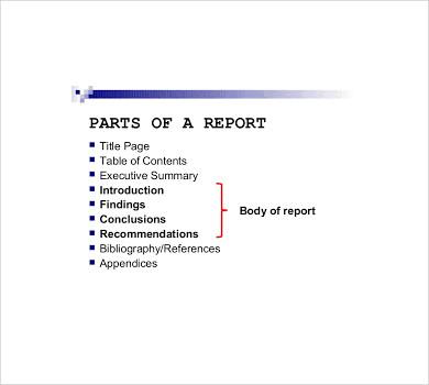 parts of a report
