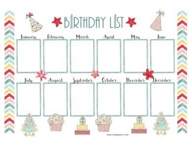party hat birthday calendar1