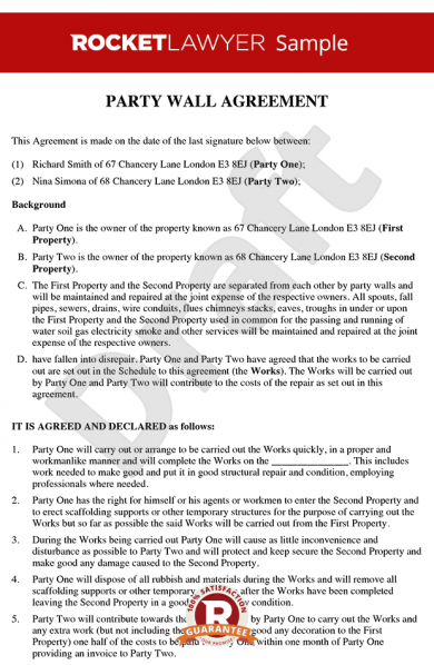 party wall agreement letter example1