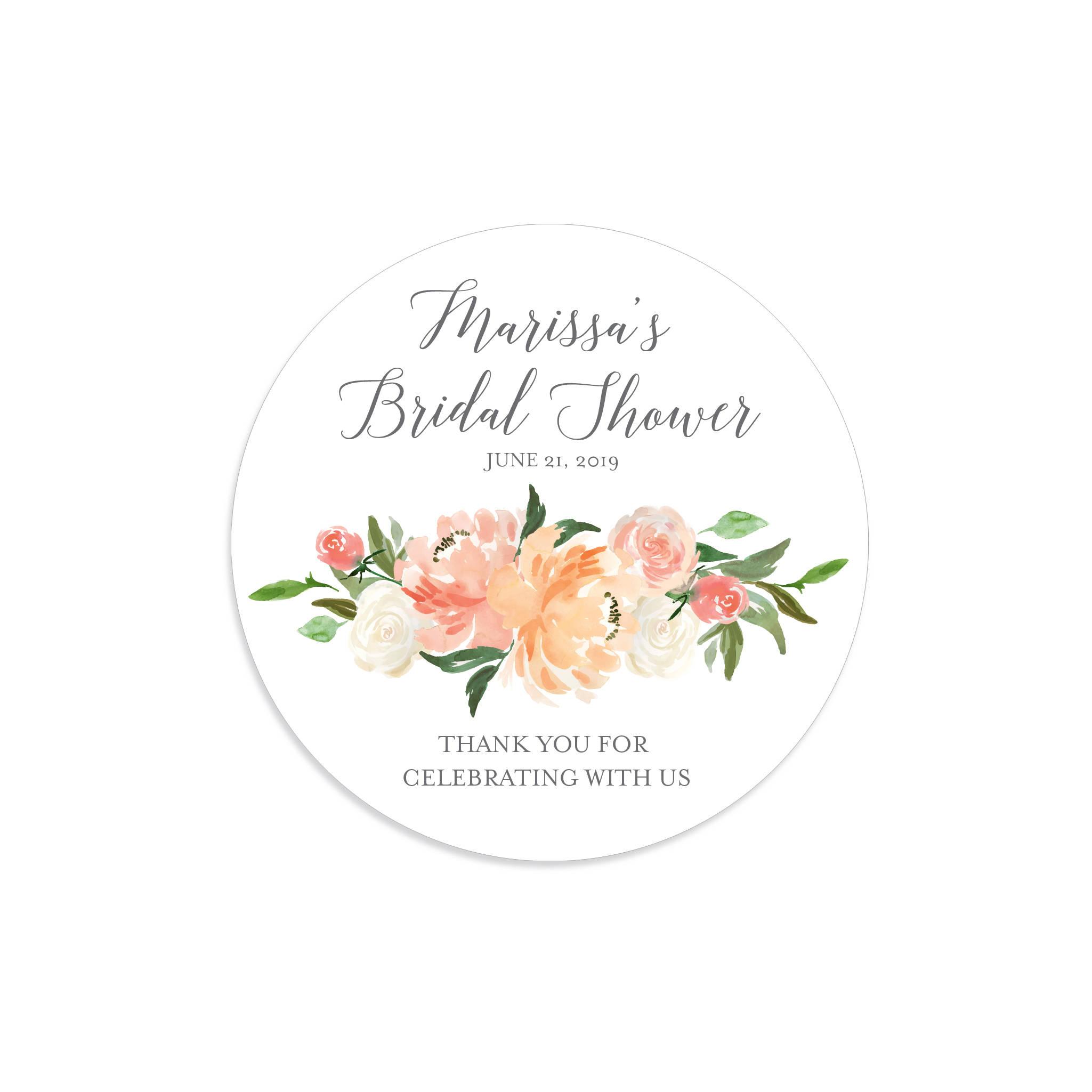 peach peony bridal shower label example