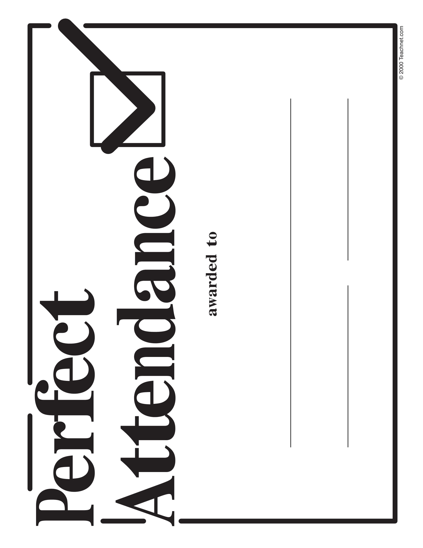 perfect attendance blank award certificate example