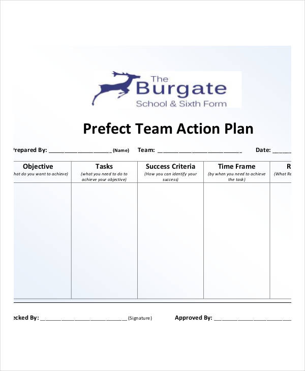perfect team action plan example