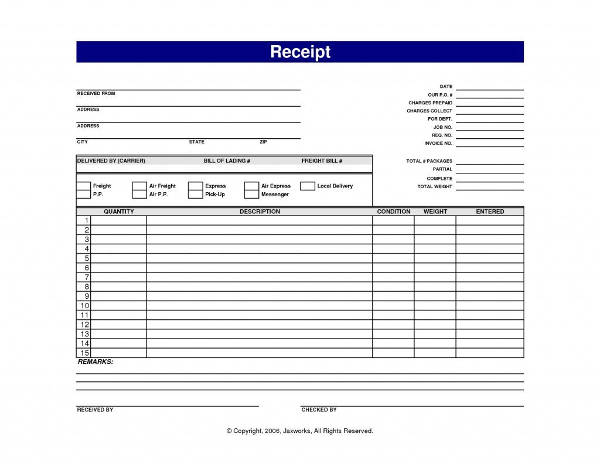 personal delivery slip template example1