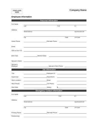 personal employee information form example1
