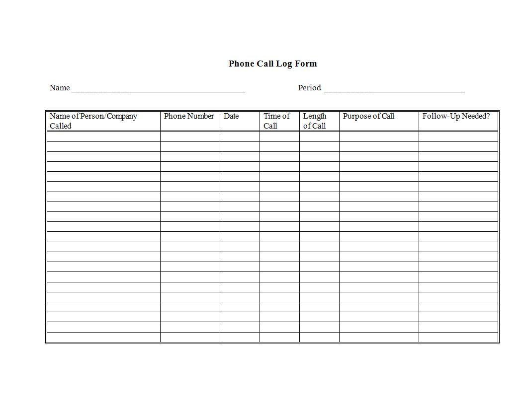 phone call log example