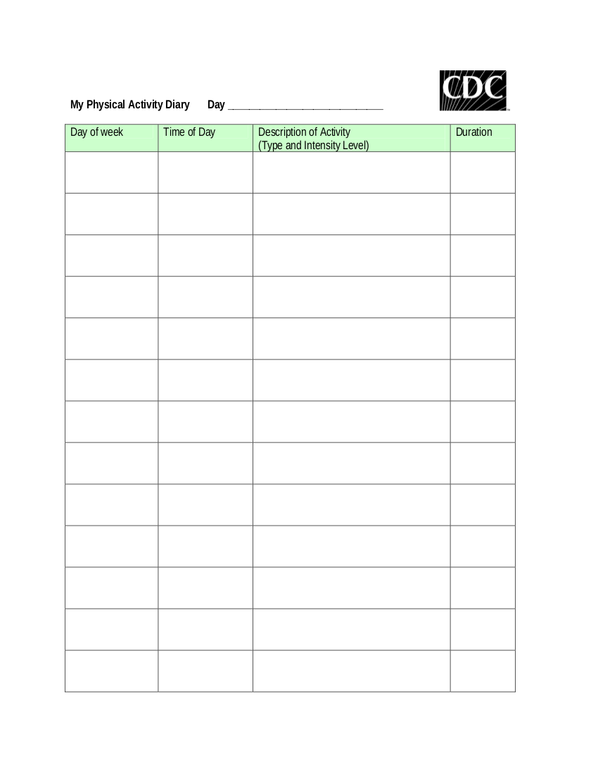physical actvity diary workout log example