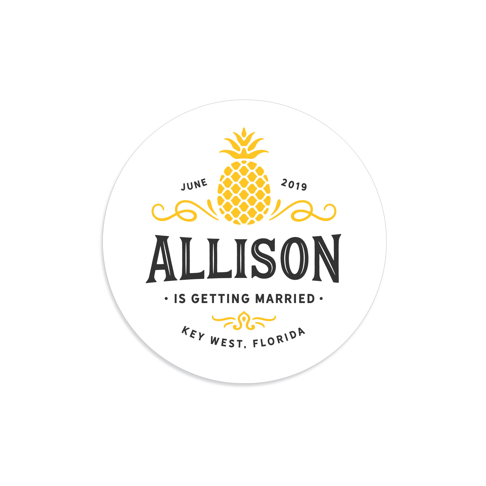 pineapple bridal shower label example