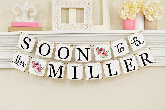 Pink Floral Bridal Shower Banner Example