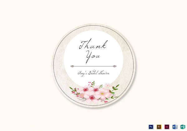pink floral wedding label example