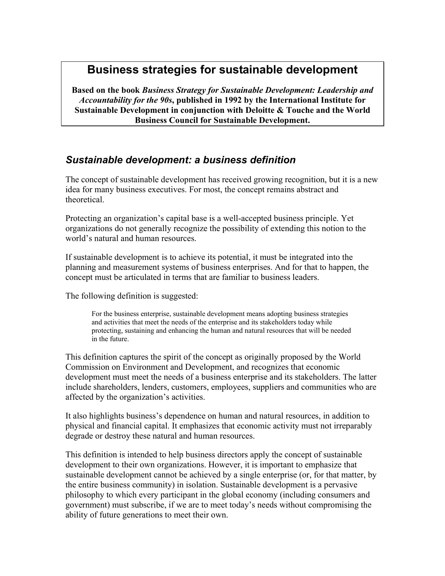 planning business strategies for sustainable development example 01