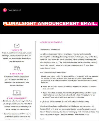 pluralsight email announcement