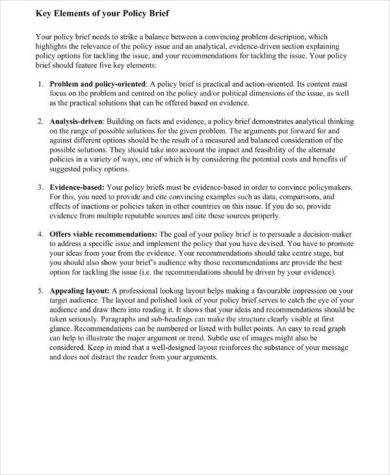 policy brief key elements and example1