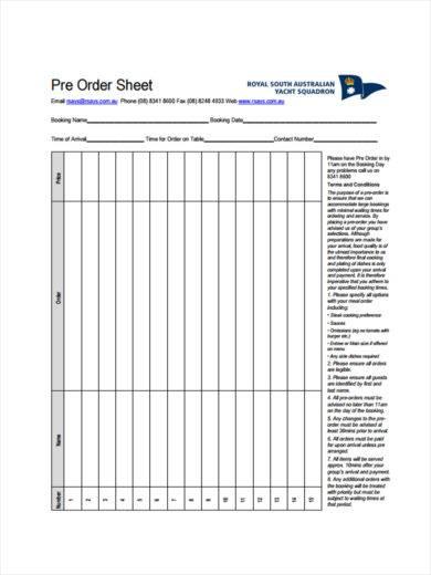 pre order sheet