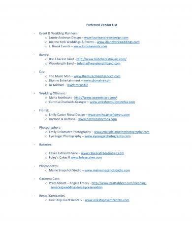 preferred vendor list example