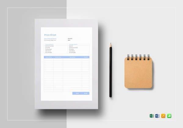 price sheet example1