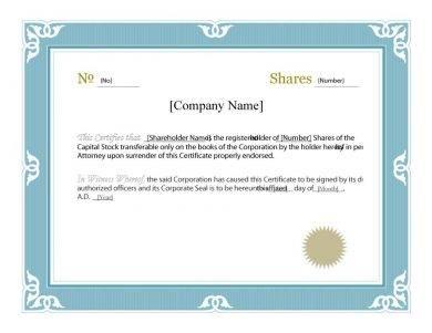 prim share certificate example1