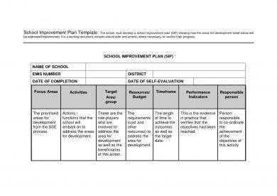 primary school improvement plan example1