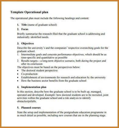 primary school operational plan template example1