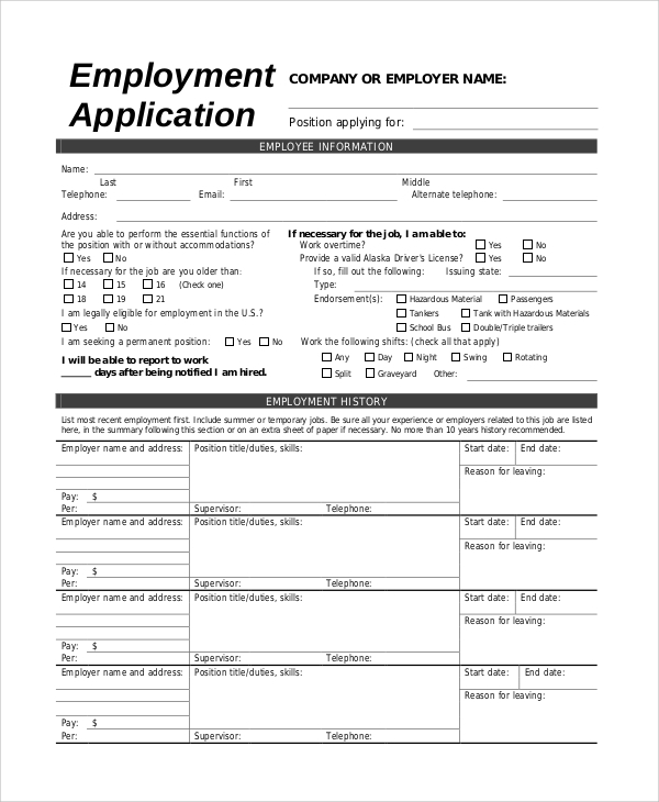 printable application form for review example