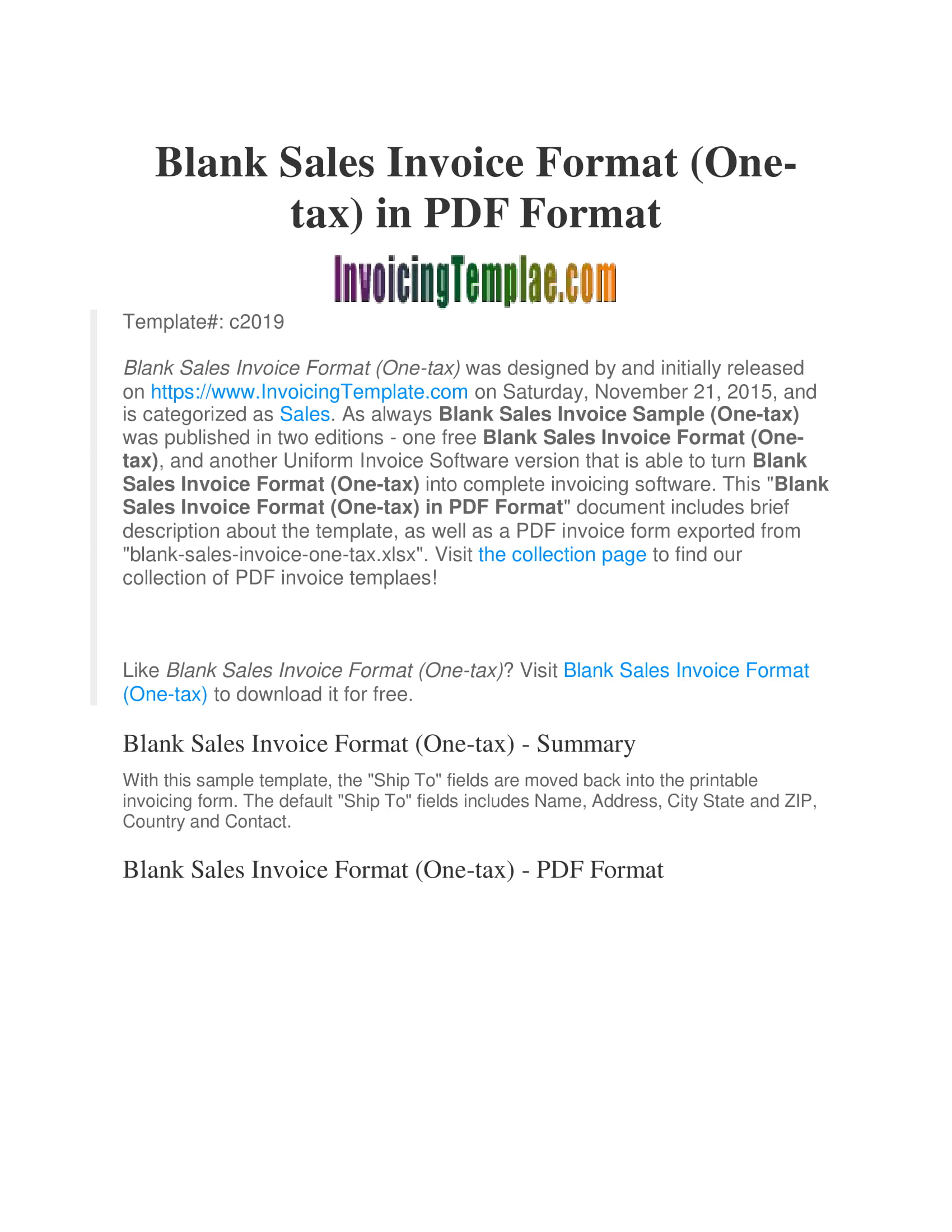 printable blank sales invoice example