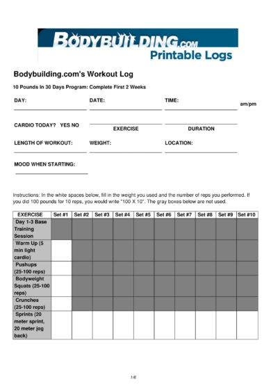 printable body building workout log example