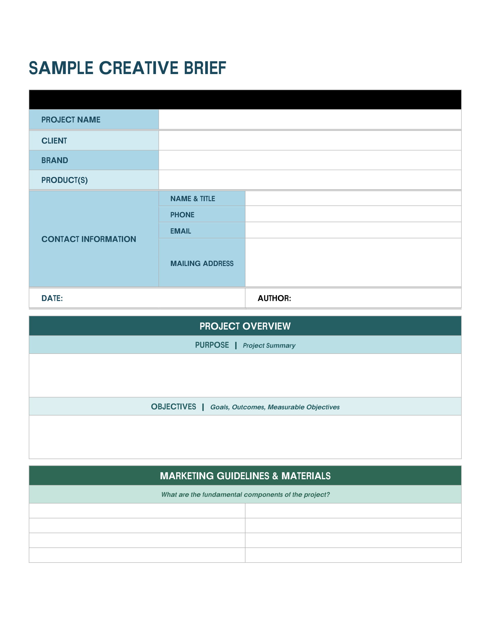 printable creative brief template example