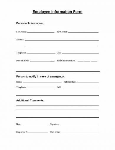 printable employee information form example1