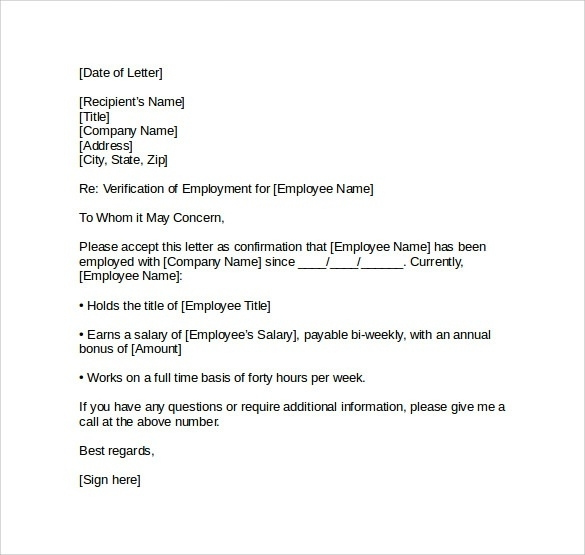 printable employment verification letter example