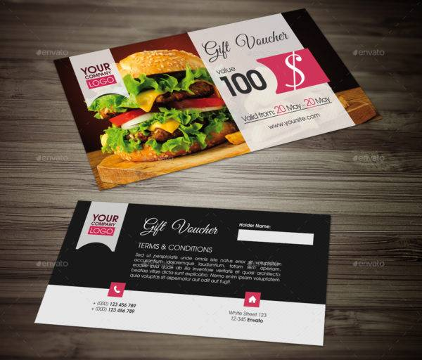printable food payment gift voucher example