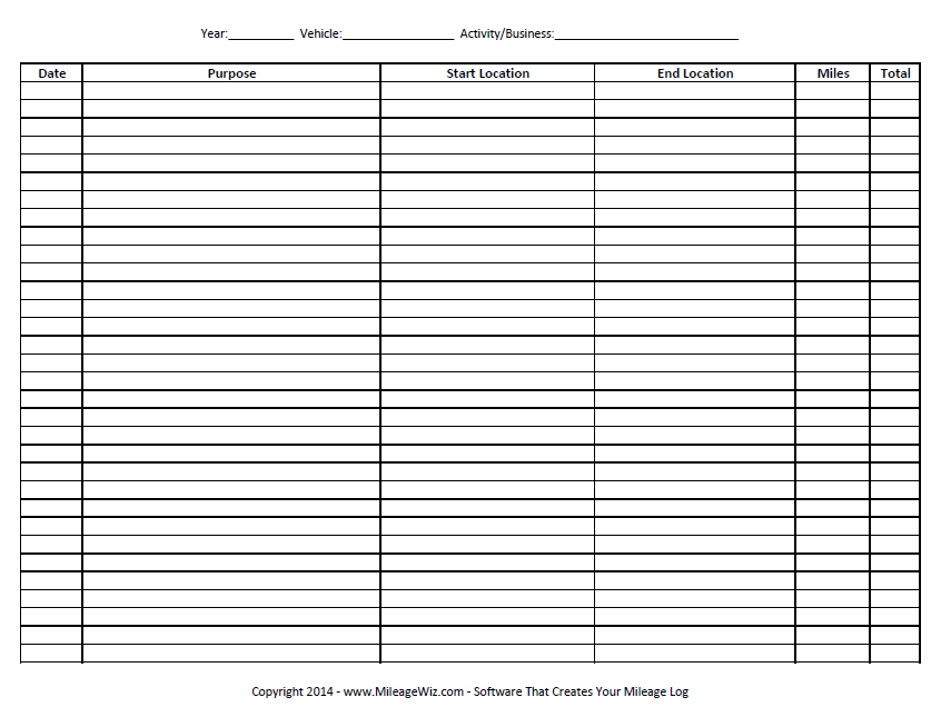 image regarding Printable Mileage Log named 26+ Printable Mileage Log Illustrations - PDF Illustrations