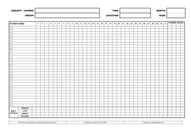 printable monthly attendance list template example1