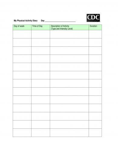 printable physical activity diary or workout log example