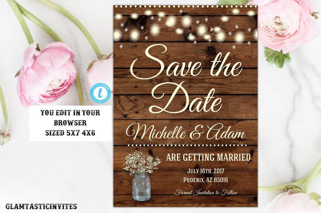 printable rustic save the date postcard example